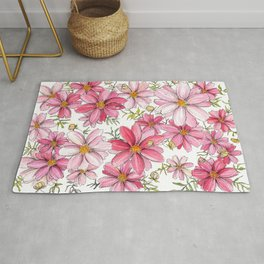 Pink Floral Pattern Rug