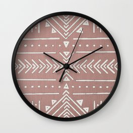 Mudcloth White Geometric Shapes in Blush Rose Pink Wall Clock