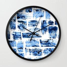 Watercolor blue brush Wall Clock