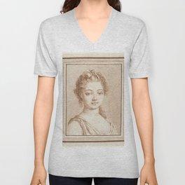 Bust of a young girl, Louis Marin Bonnet, 1757 - 1793 Unisex V-Neck