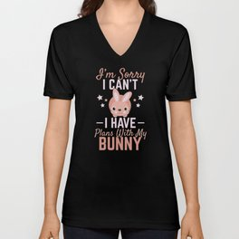 Bunny Lover Gift Home With Bunny Rabbit Gift Bunny Gifts  Unisex V-Neck