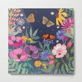 Anemones & Cornflowers Metal Print