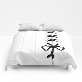 Laced Black Ribbon on White Comforters