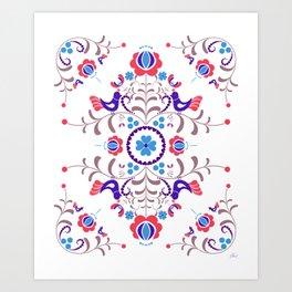 RED & BLUE  Hungarian folk art Art Print