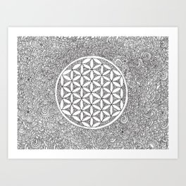 Flower of Life Drawing Meditation Art Print