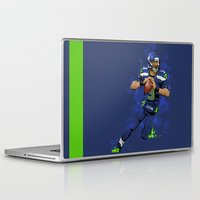 seahawks Laptop & iPad Skins featuring Russell Wilson QB 3 Seattle Seahawks by Akyanyme