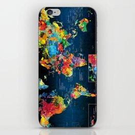 World Map Black - 2 iPhone Skin