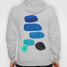 Colorful Mid Century Modern Pop Art Minimalist Style Teal Blue Aquamarine Bubbles White Background Hoody