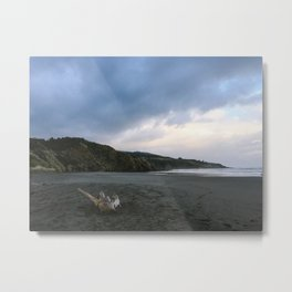Black beach - New Zealand Metal Print