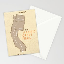 Pacific Crest Trail Map PCT Stationery Cards