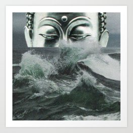 Buddha in the sea Art Print