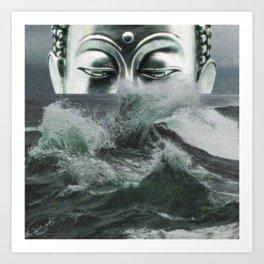 Buddha in the sea Art Print
