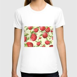 red apple in yellow background T-shirt