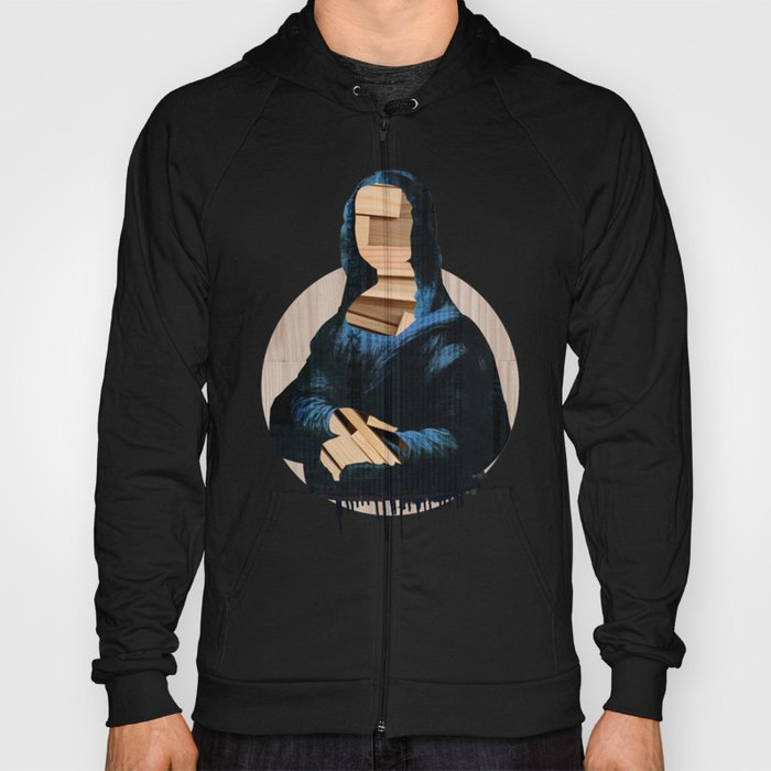 Mona Lisa - blue shining WoodCut Collage 2 Hoody