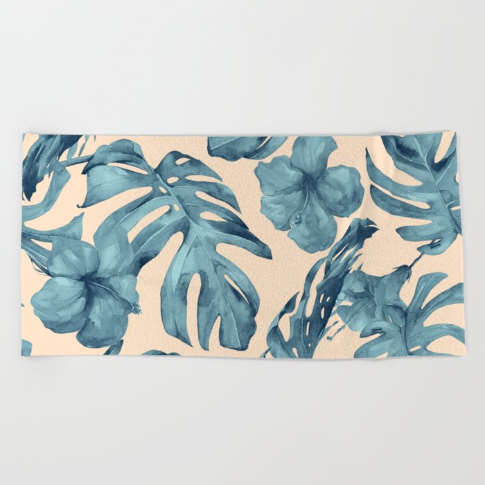 Island Vacay Hibiscus Palm Pale Coral Teal Blue Beach Towel