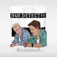 true detective Shower Curtains featuring True Detective Fan Art by Vito Fabrizio Brugnola