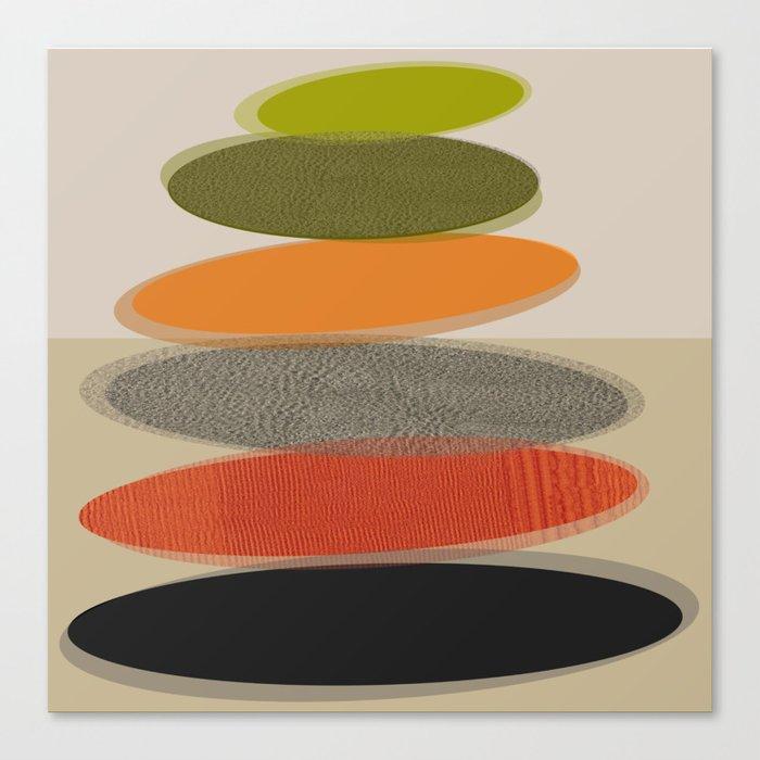 Mid-Century Modern Ovals Abstract Leinwanddruck