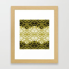 Snake skin scales texture. Seamless pattern black yellow gold white background. simple ornament Framed Art Print
