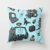 fallout Throw Pillows featuring Artifacts: Fallout by Josh Ln