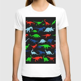 silhouettes of dinosaur pattern T-shirt