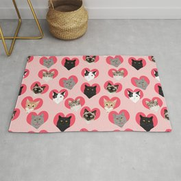 Cat faces love hearts valentines day gifts for cat lovers must have cats Rug