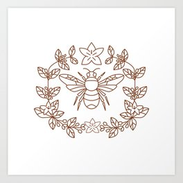 Bumblebee Coffee Flower Leaves Icon Art Print