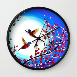 Red Cherry Blossom Wall Clock
