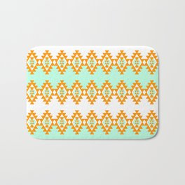 Orange and Turquoise Pattern Bath Mat