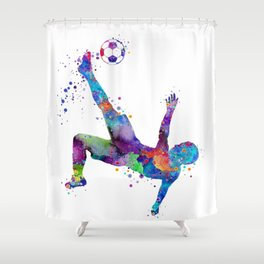 Bicycle Kick Soccer Boy Art Watercolor Gift Shower Curtain