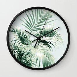 Palm Leaf Vibes #1 #tropical #decor #art #society6 Wall Clock
