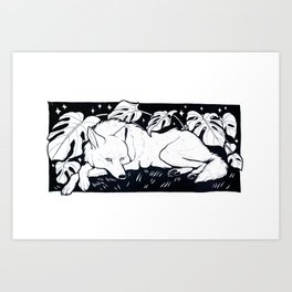 Monstera Wolf Art Print