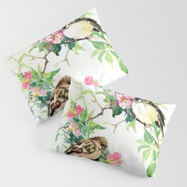 Sparrows and Apple Blossom, spring floral bird art Pillow Sham