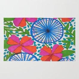 Flowers and Pinwheels Jungle Print Rug