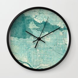 Vancouver Map Blue Vintage Wall Clock