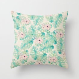 Blush pink green watercolor tropical ivory floral Throw Pillow