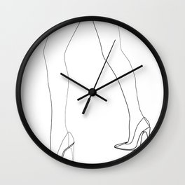 """Fashion Line Collection"" - Minimal One Line Woman Legs Print Wall Clock"
