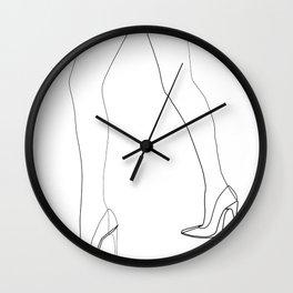 """Fashion Line Collection"" - Minimal One Line Woman Legs Print Wall Clock"
