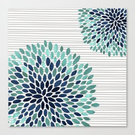 Blooms and Stripes, Aqua and Navy Canvas Print
