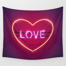 Pink Love in the Heart Neon Sign Wall Tapestry