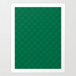 Teal Green on Cadmium Green Spirals Art Print
