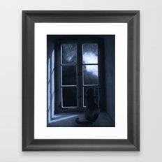 Watching the rain Framed Art Print
