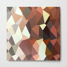 Burnt Sienna Abstract Low Polygon Background Metal Print