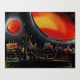 Moonlight Over The Shifting City Canvas Print