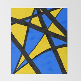 Yellow and Blue Triangles Abstract Throw Blanket