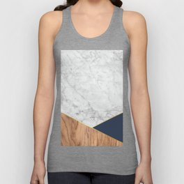 White Marble Wood & Navy #599 Unisex Tank Top