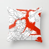 boston map Throw Pillows featuring Downtown Boston Map by Studio Tesouro