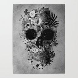 Garden Skull B&W Poster