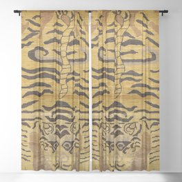 Tiger Rug I 19th Century Authentic Colorful Wild Animal Zoo Vintage Patterns Sheer Curtain
