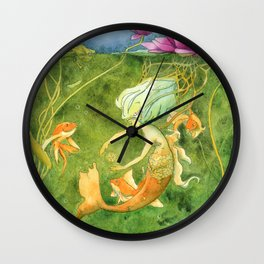 Treasures of the Lotus Nymph Wall Clock