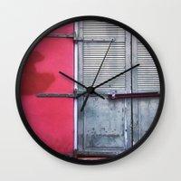 memphis Wall Clocks featuring Memphis Window by wendygray